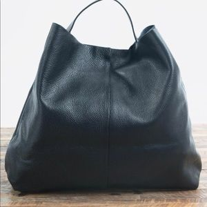 Love Stitch All Leather Black Hobo Handbag